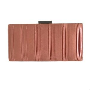 Blush Pink Metallic Fabric Clutch Never Used